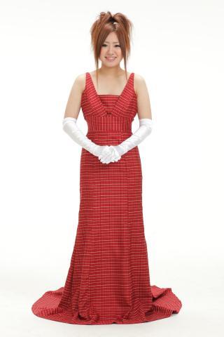 着物ドレス 赤 コート地 [チェック]