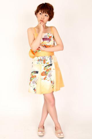 着物ドレス オレンジ 小紋 ショート丈 [花、扇]
