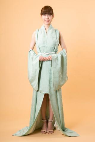 着物ドレス 薄黄緑 小紋 [花]