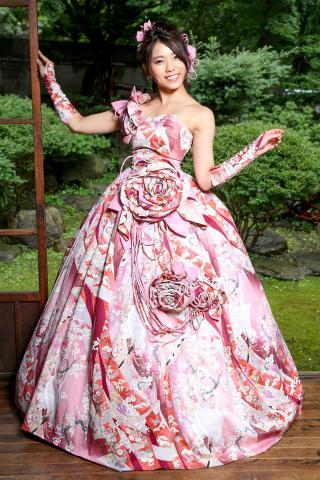 着物ドレス ピンク 振袖 [花]