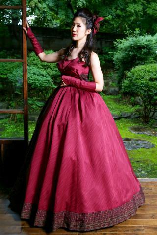着物ドレス 紫 小紋 [模様]