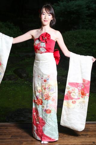 着物ドレス 白色 振袖 [花]
