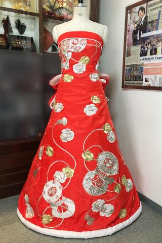 着物ドレス 赤 打掛 [花]