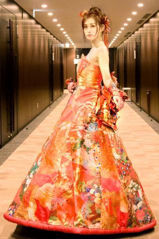 着物ドレス オレンジ 打掛 [鳥、花]
