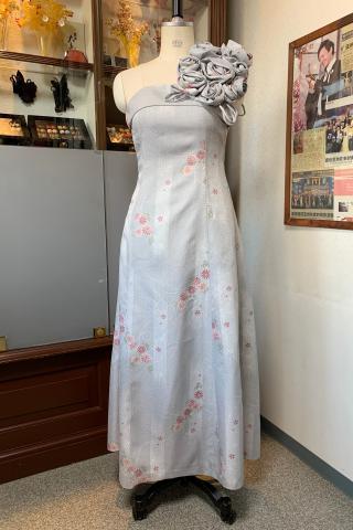 着物ドレス 灰色 小紋 [花]