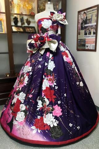 着物ドレス 紫 振袖 [花]