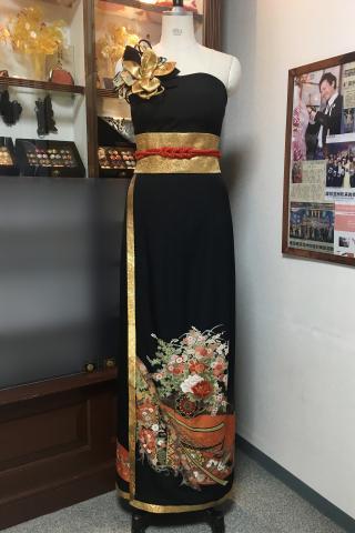 着物ドレス 黒 留袖 [花]