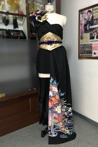 着物ドレス 黒・青・赤 留袖 [花]