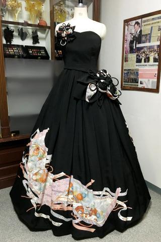 着物ドレス 黒・水色 留袖 [花]