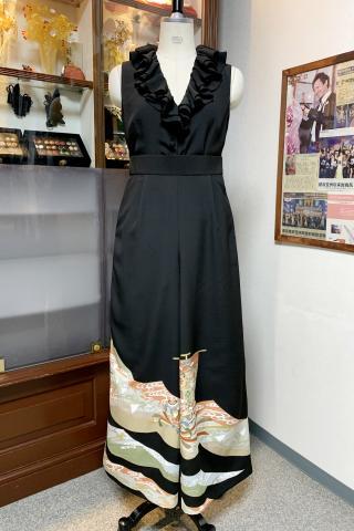着物ドレス 黒・橙 留袖 [宝船]