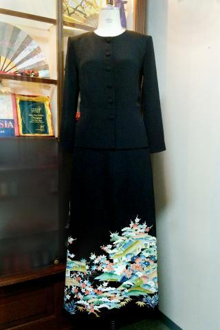 留袖ドレス 緑 2ピース [葉・建物]