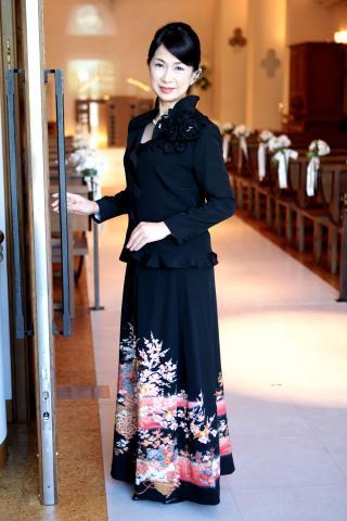 留袖ドレス 黒 2ピースタイプ [鶴、花]