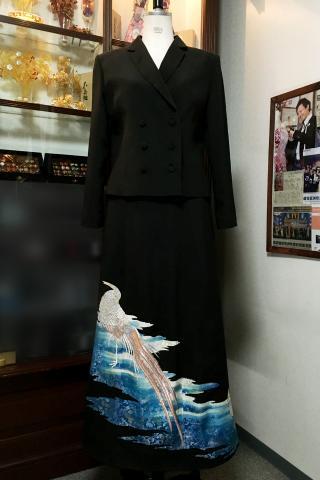 留袖ドレス 青 2ピース [鳥]