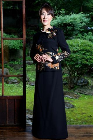 留袖ドレス ゴールド 2ピースタイプ [花]