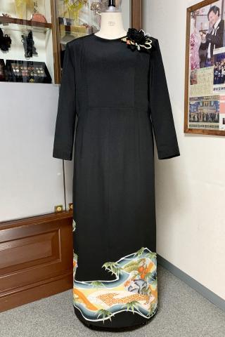 留袖ドレス 橙色 ワンピース [鶴]