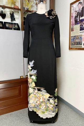 留袖ドレス 深緑 ワンピース [花]