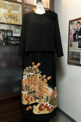 留袖ドレス 黒 2ピースタイプ [花]