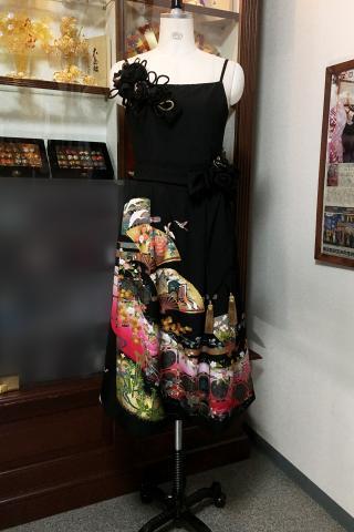 留袖ドレス 桃色 ワンピース [花、鶴、扇]