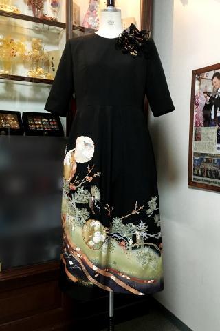 留袖ドレス 緑 ワンピース [花]