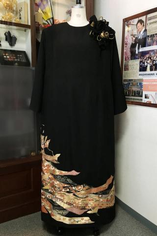 留袖ドレス 茶 ワンピース [花]