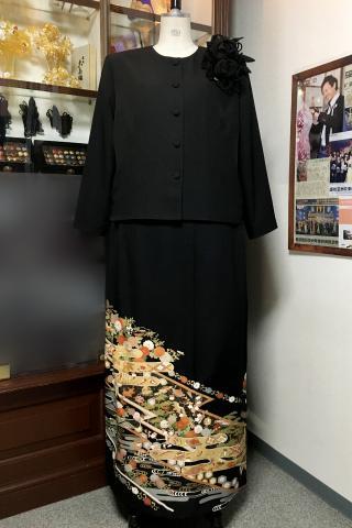留袖ドレス 金 2ピース [花]
