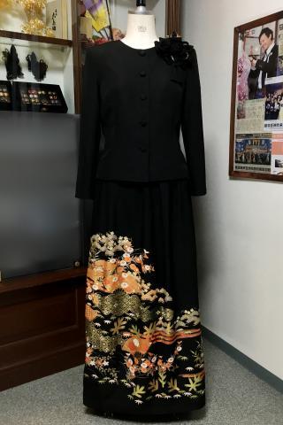 留袖ドレス 橙色 2ピース [花]