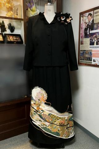留袖ドレス 金 2ピース [鶴]