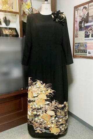 留袖ドレス 茶 ワンピース [鳥]