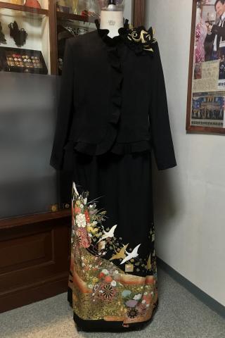留袖ドレス 黒 2ピース [花]