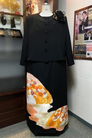 留袖ドレス 黒 2ピース [鶴]