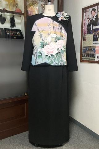 留袖ドレス 黒・桃色 2ピース [花]
