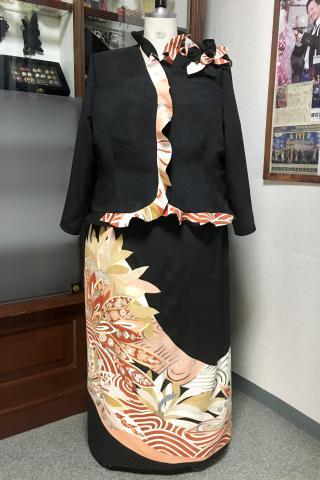 留袖ドレス 黒・桃・橙 2ピース [花]