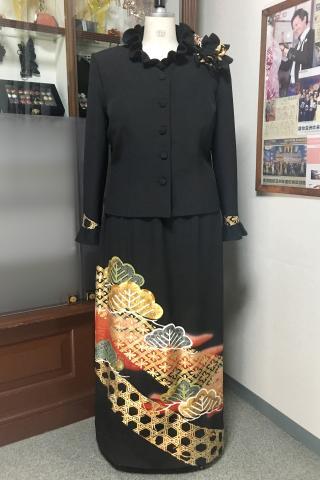 留袖ドレス 黒・赤 2ピース [木]