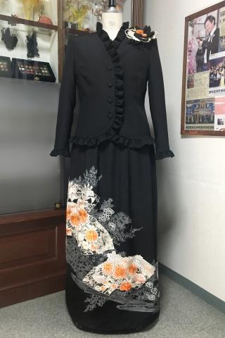 留袖ドレス 黒・橙 2ピース [花、扇]