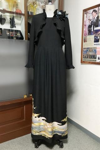留袖ドレス 黒・青 アンサンブル [鶴、松]