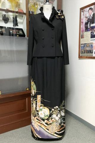 留袖ドレス 紫・金 2ピース [鶴、花]