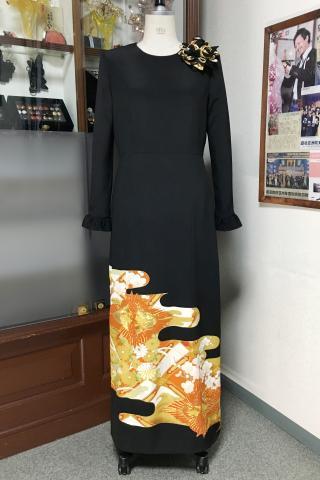 留袖ドレス 黄色・橙 ワンピース [鳳凰・花]