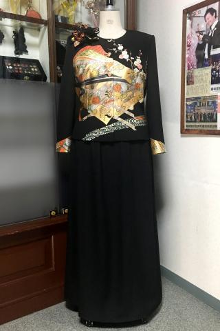 留袖ドレス 黒・金 2ピース [花]