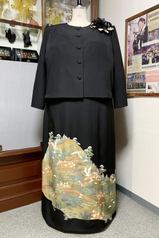 Japanese Tomesode Dress Two piece [Crane-Scene]
