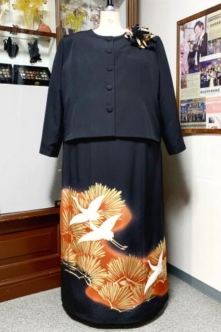 Japanese Tomesode Dress Two piece [Crane]