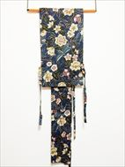 No.09010帯 紺 [花] 綿<br>中古の帯